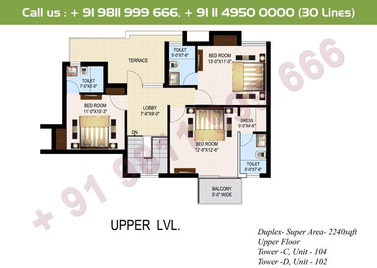 4 BHK+ S Duplex Upper Floor : 2240 Sq.Ft.