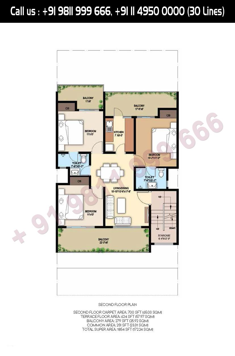 Second Floor Plan Total Super Area- 1854 Sq. Ft.