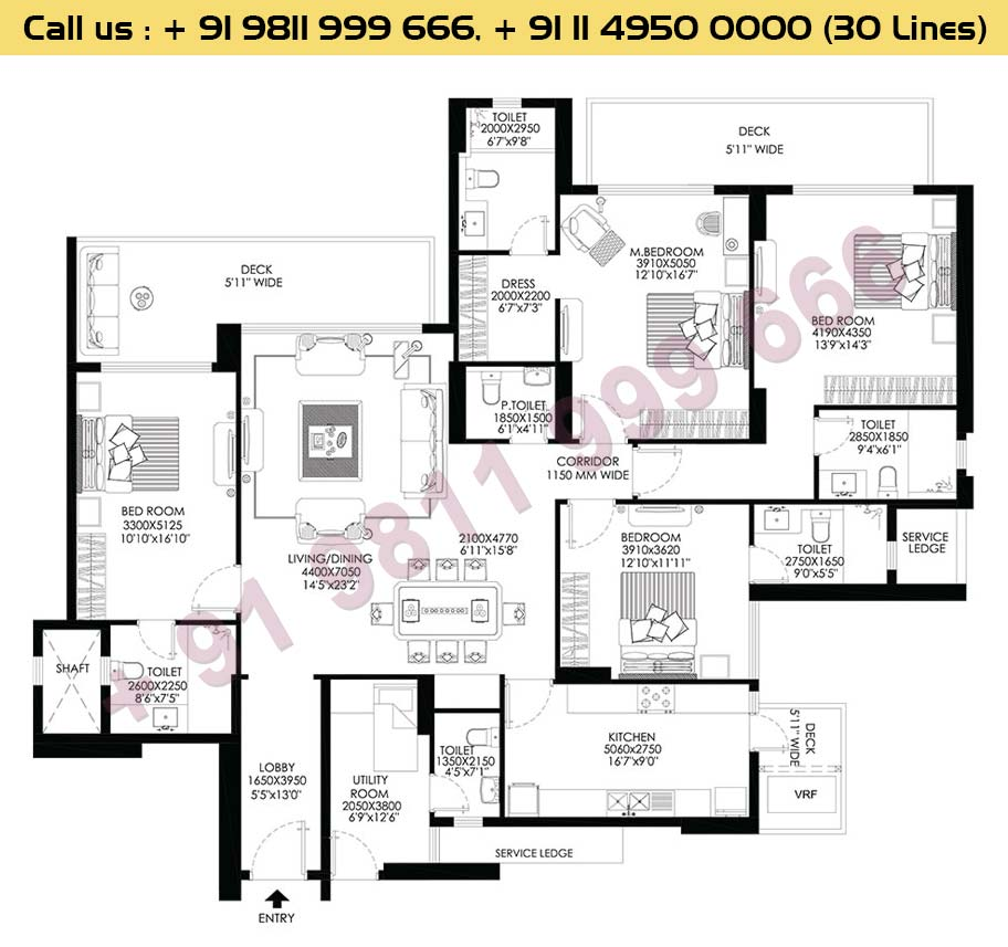 4 BHK+Utility Apt No 1, 2, 3, 4 Typical Floor 2nd To 26th : 3081 Sq.Ft.