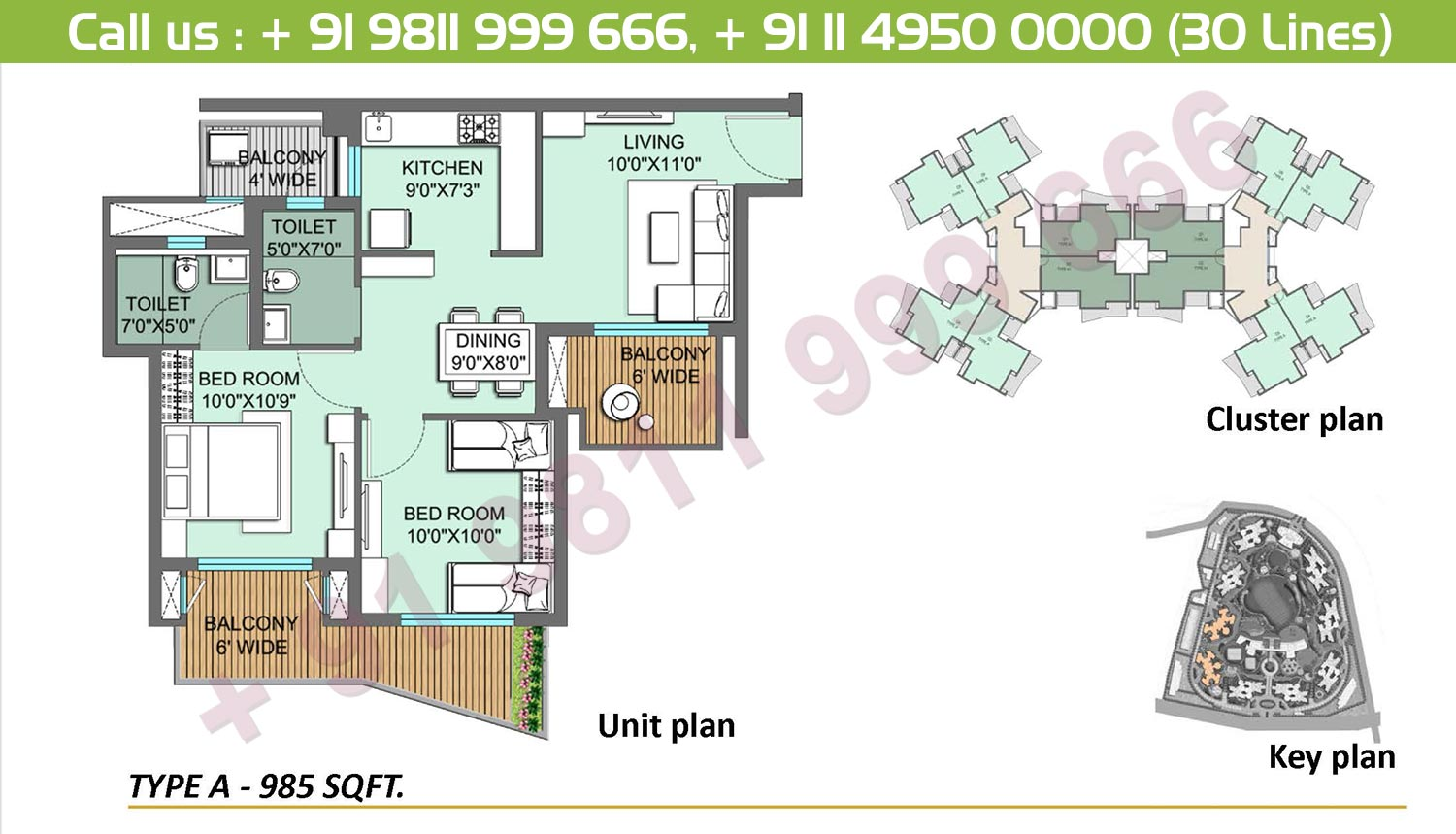 2 BHK, Type A: 985 Sq.Ft.