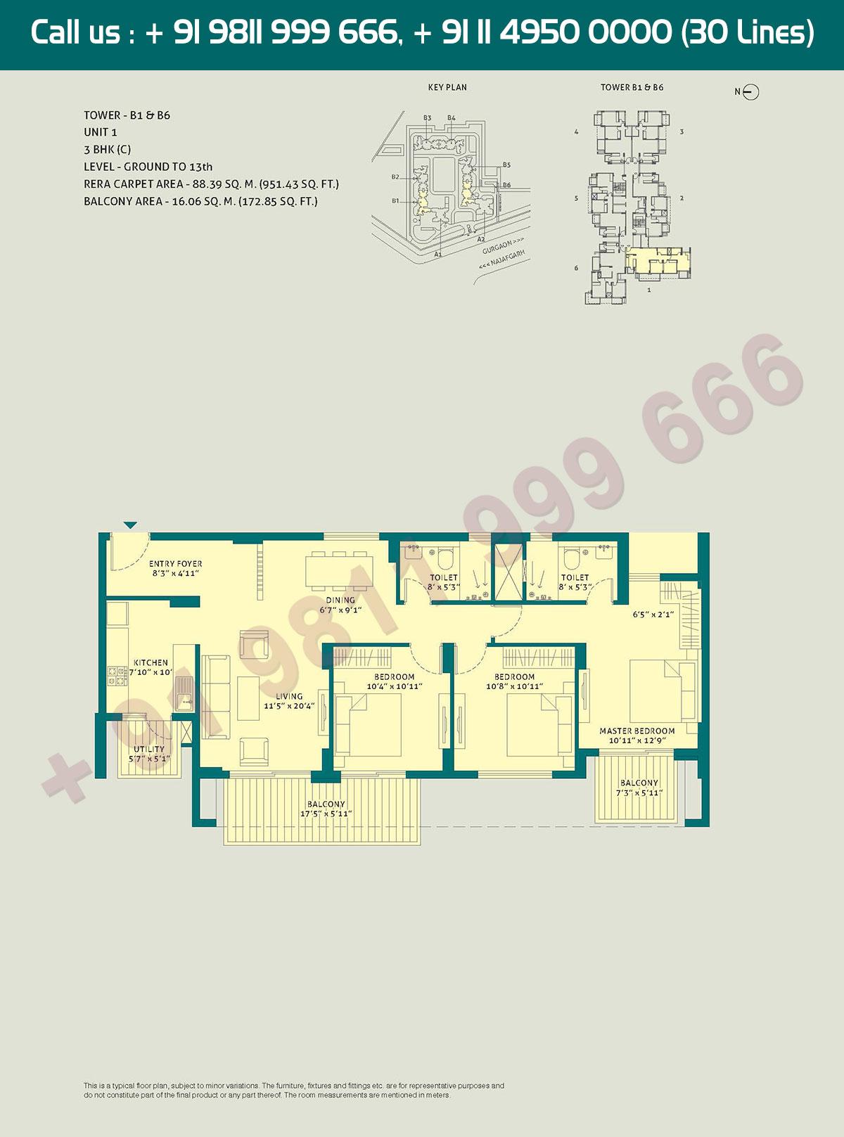3 BHK - (C), Level Ground to 13, Unit - 1, Tower - B1 - B6