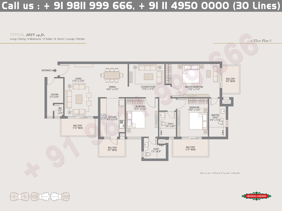 Typical Floor Plan 2 : 2025 Sq.Ft.