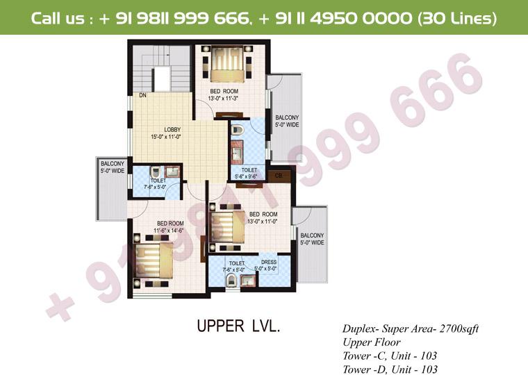 4 BHK+ S Duplex Upper Floor : 2700 Sq.Ft.