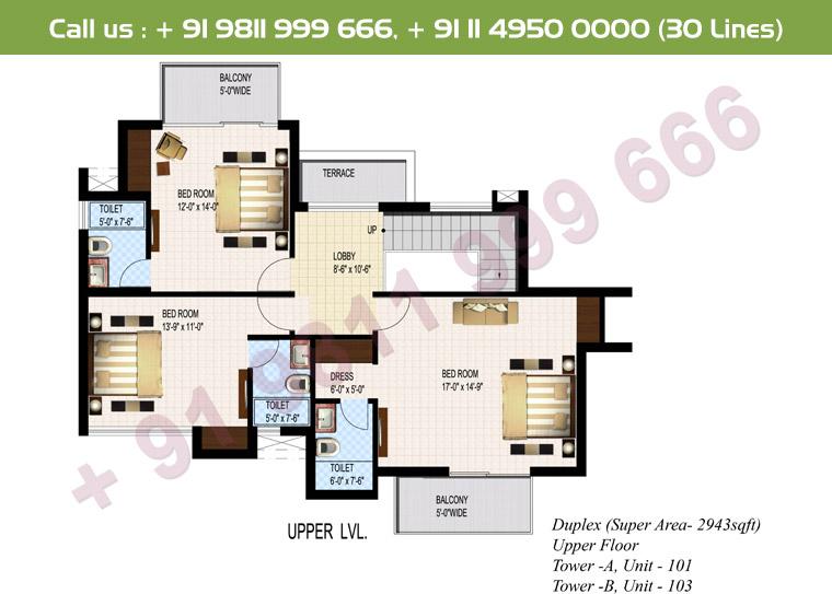 4 BHK + S Duplex Upper Floor : 2943 Sq.Ft.