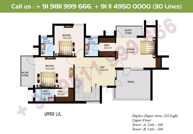 5 BHK + S Duplex Upper Floor : 3312 Sq.Ft.