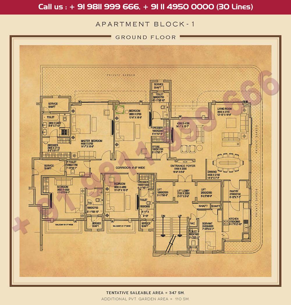 Ground Floor Plan : 3735 + 1184 Sq.Ft.