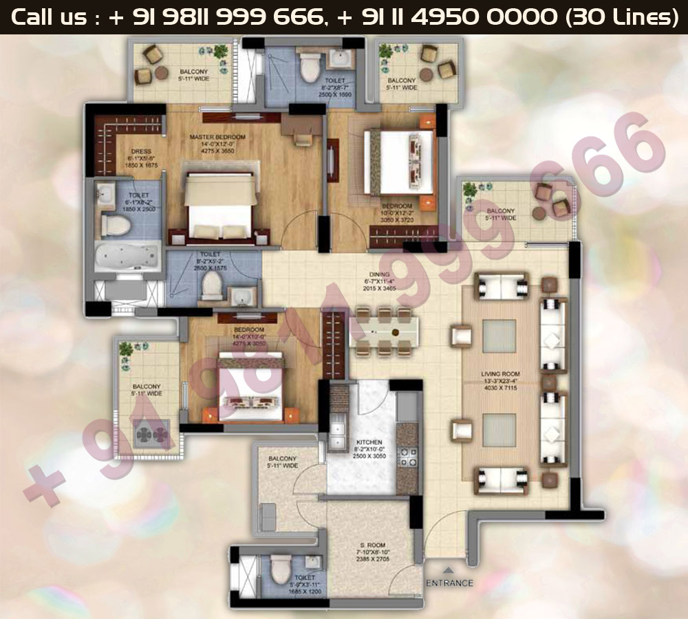 Tower E,N,Q,R,S 3 BHK + S Room Floor Plan