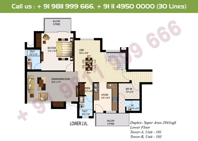 4 BHK + S Duplex Lower Floor : 2943 Sq.Ft.