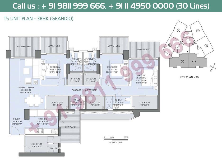 3BHK Grandio T5 Unit Plan
