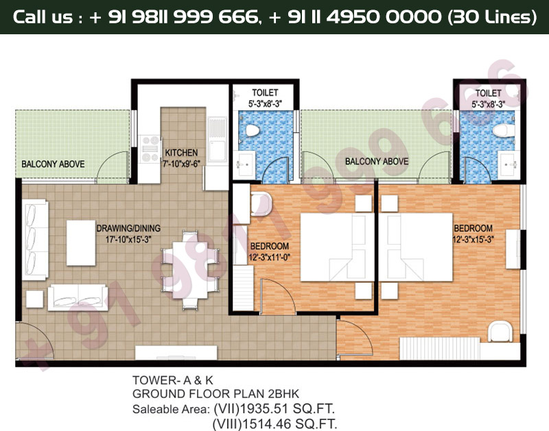 Tower A & K, Ground Floor Plan, 2 BHK Type 7 & 8:1935 & 1514 Sq.Ft.