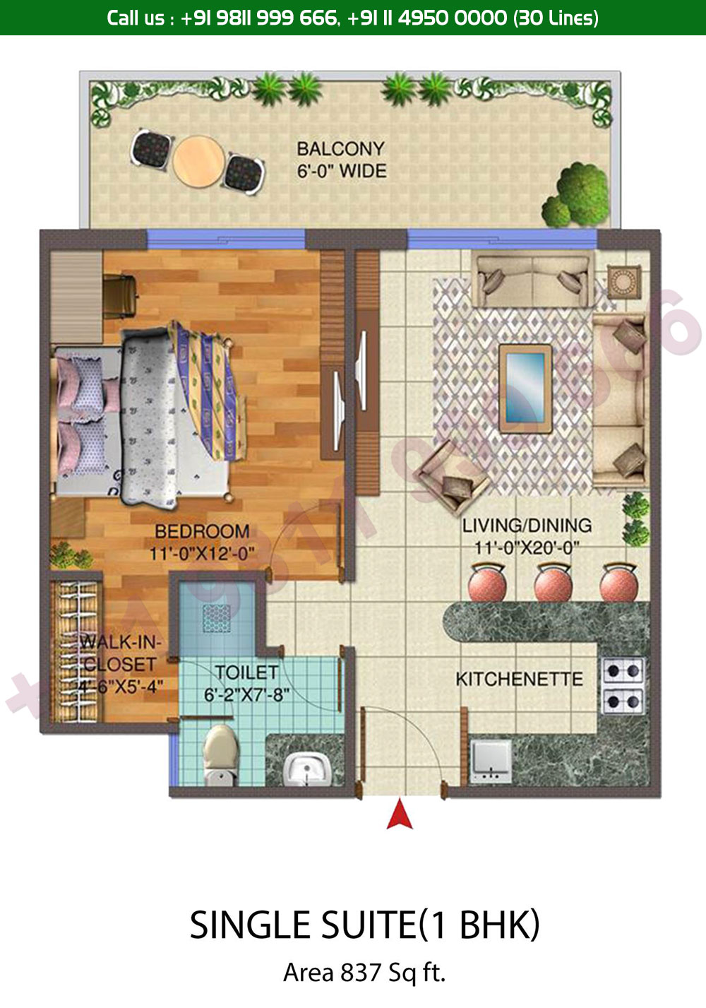 1 BHK Suite: 837 Sq. Ft.
