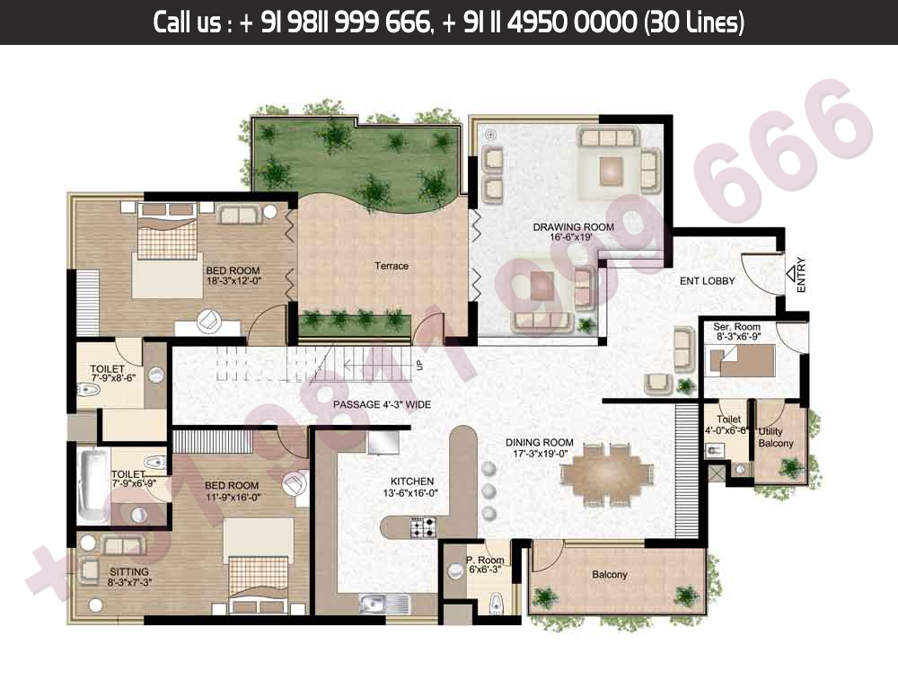 Lower Level, 4 Bed + Servant Saleable Area: 4409.59 + 1209.87 Terrace