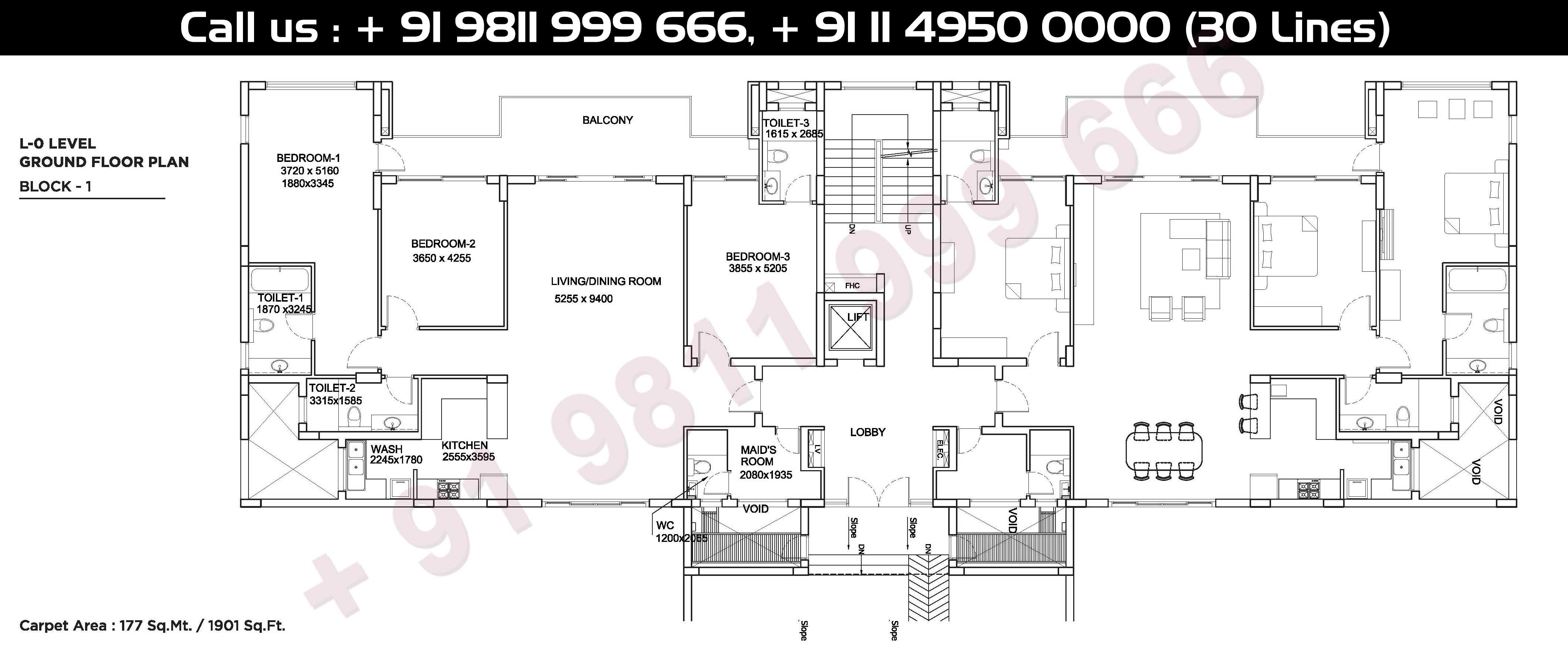 0 - Level, Ground Floor Plan, Carpet Area: 1901 Sq. Ft