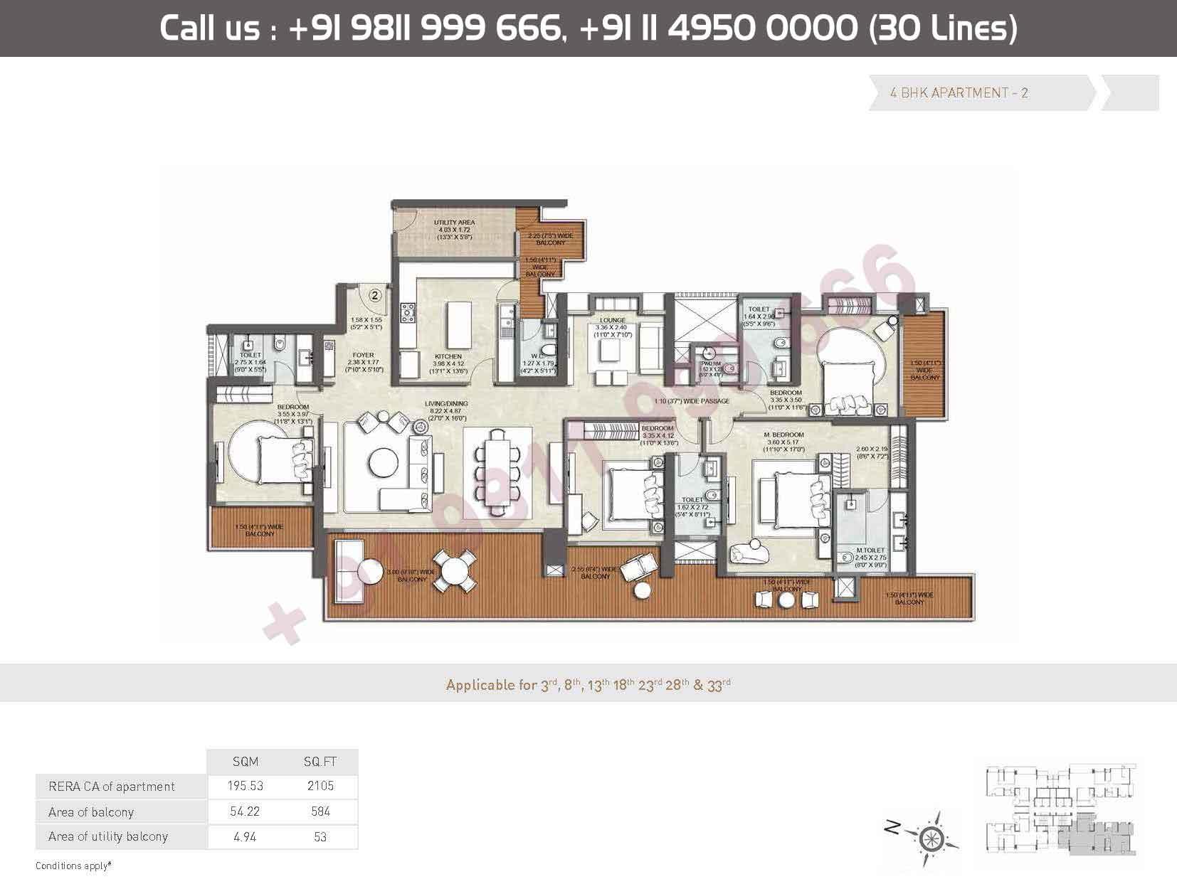 Apartment - 2 : 2105 Sq. Ft.