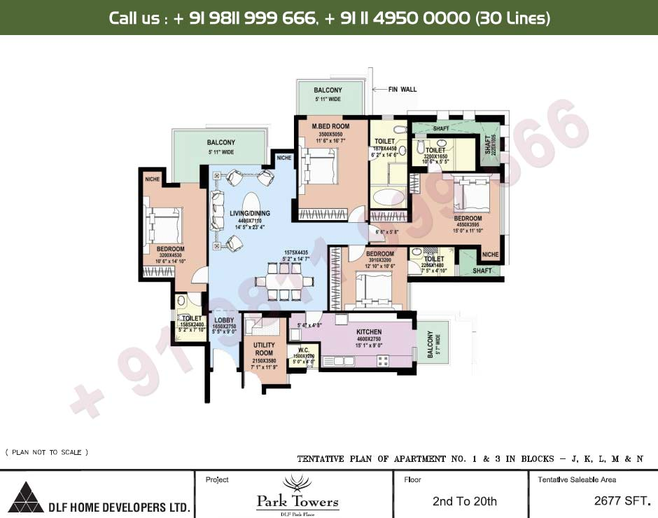 4 BHK Apartment No. 1 & 3 2nd - 20th Floor : 2677 Sq.Ft.