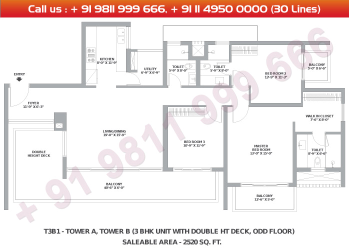 Tower A & B 3 BHK Large Type 3B1 : 2520 Sq.Ft.