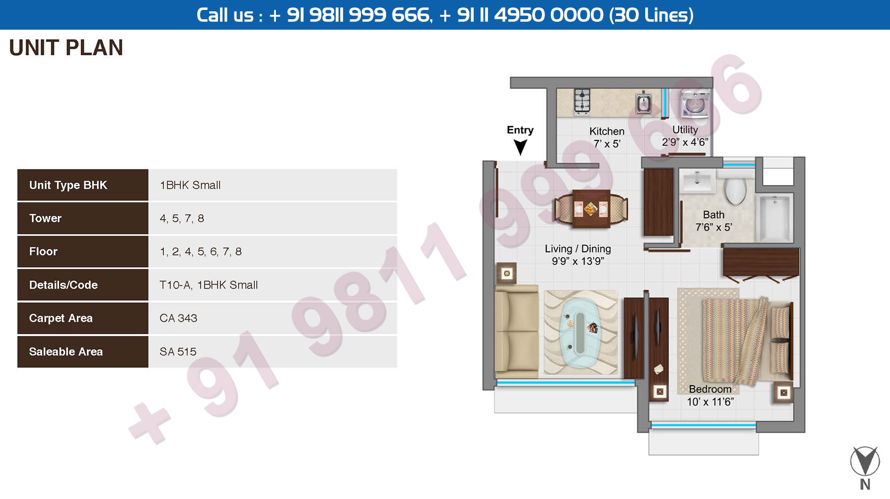 1 BHK Small : 515 Sq.Ft.