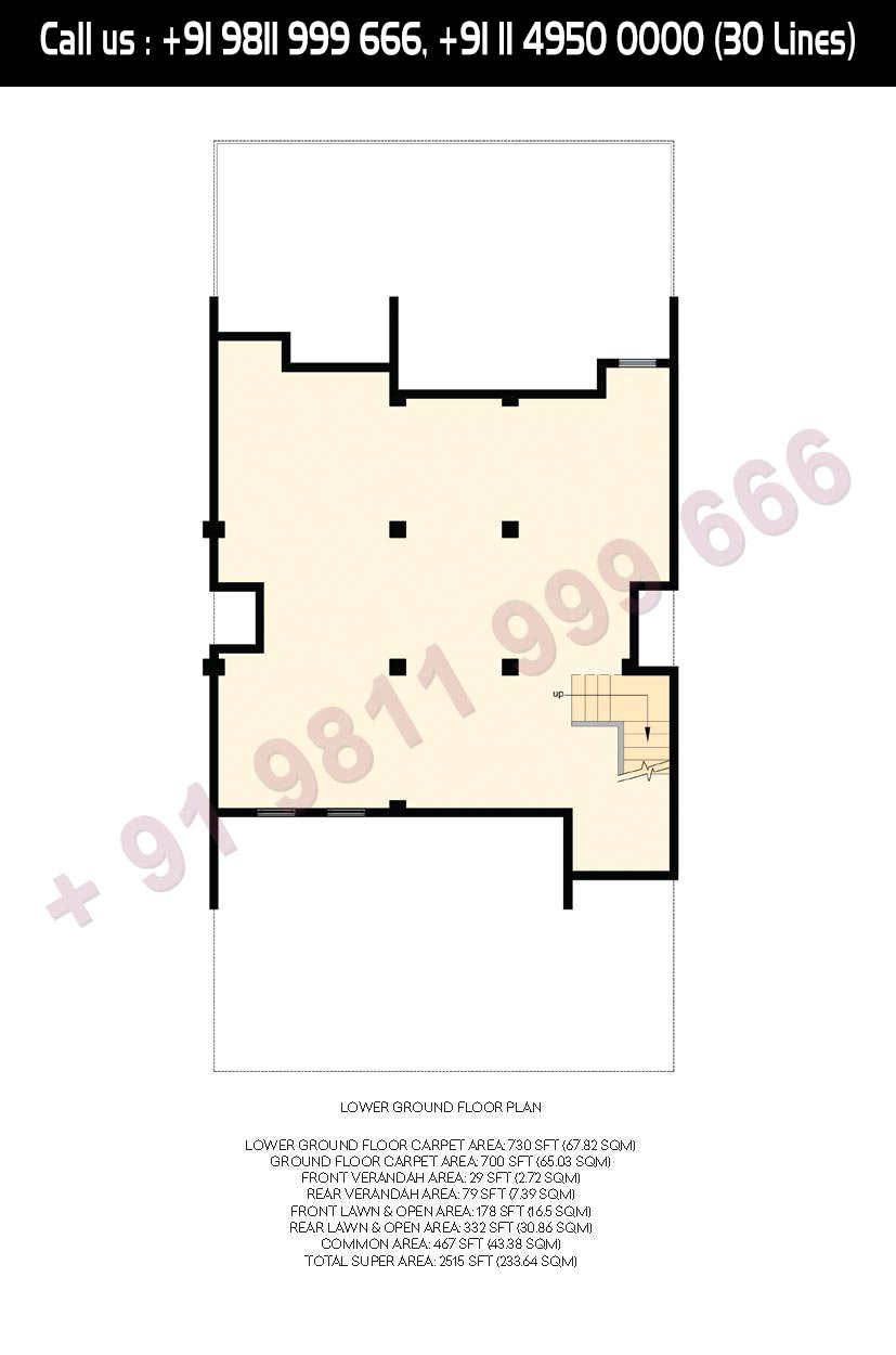 Lower Ground Floor Plan Total Super Area- 2515 Sq. Ft.