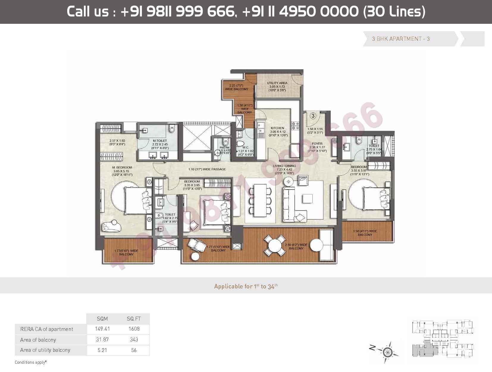 Apartments - 3 : 1608 Sq. Ft.