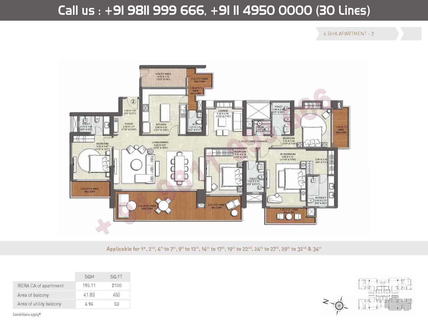 Apartment - 2 : 2100 Sq. Ft.