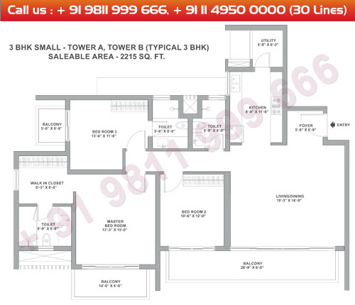 Tower A & B 3 BHK Small Type 3A : 2215 Sq.Ft.