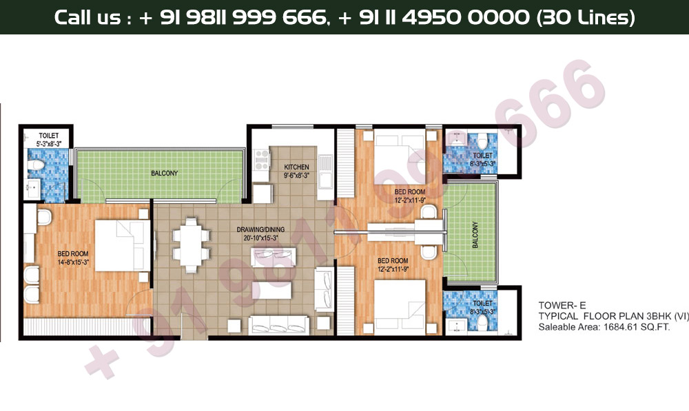 Tower E, Typical Floor Plan, 3 BHK Type 6: 1684 Sq.Ft.