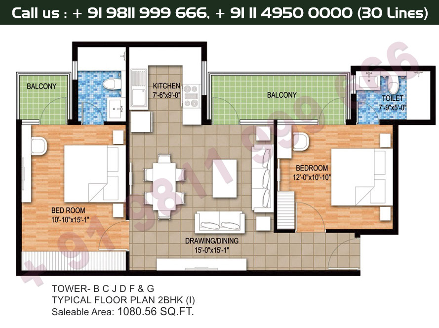 Tower B, C, J, D, F & G, Typical Floor Plan, 2 BHK Type 1: 1080 Sq.Ft.