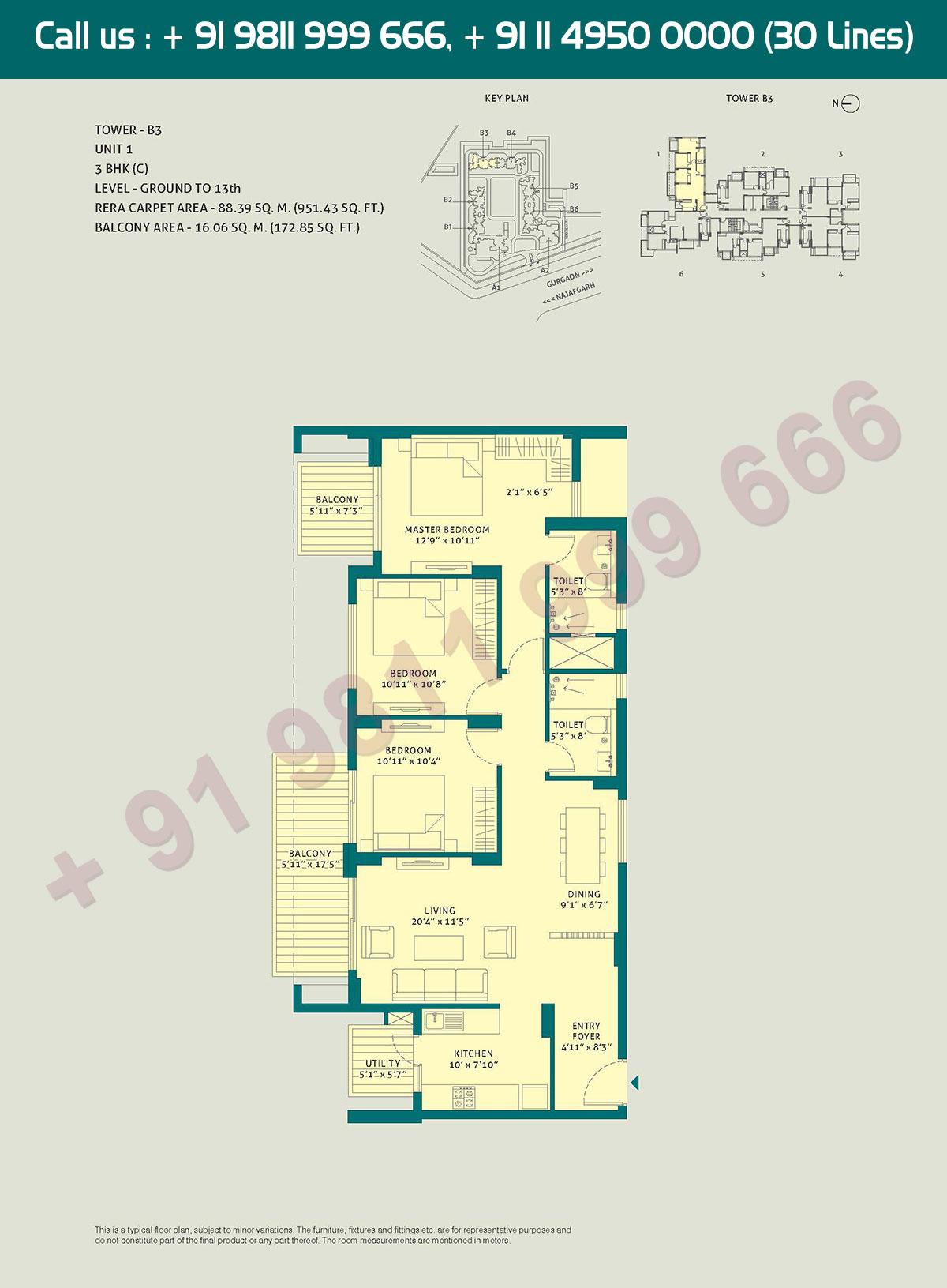 3 BHK - (C), Level Ground to 13,Unit - 1, Tower - B3