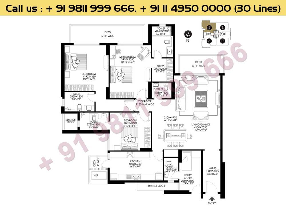 3 BHK + Utility Apt No 4 Ground Floor : 2651 Sq.Ft.