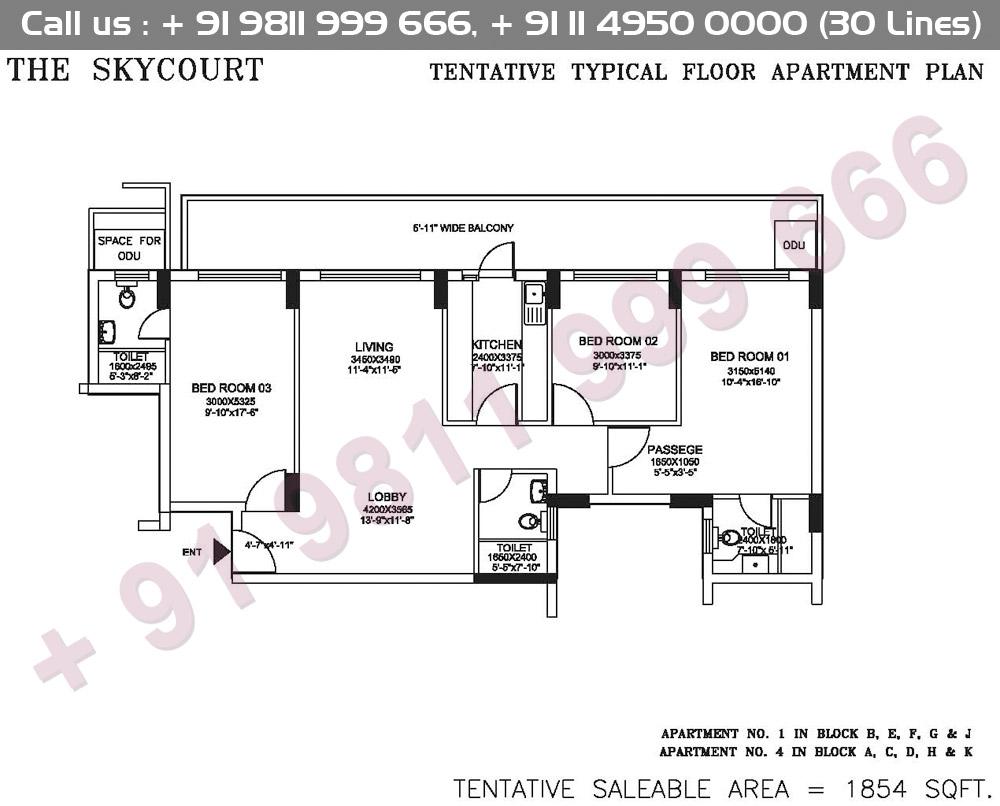 Tentative Typical Floor Apartment Plan : 1854 Sq.Ft.