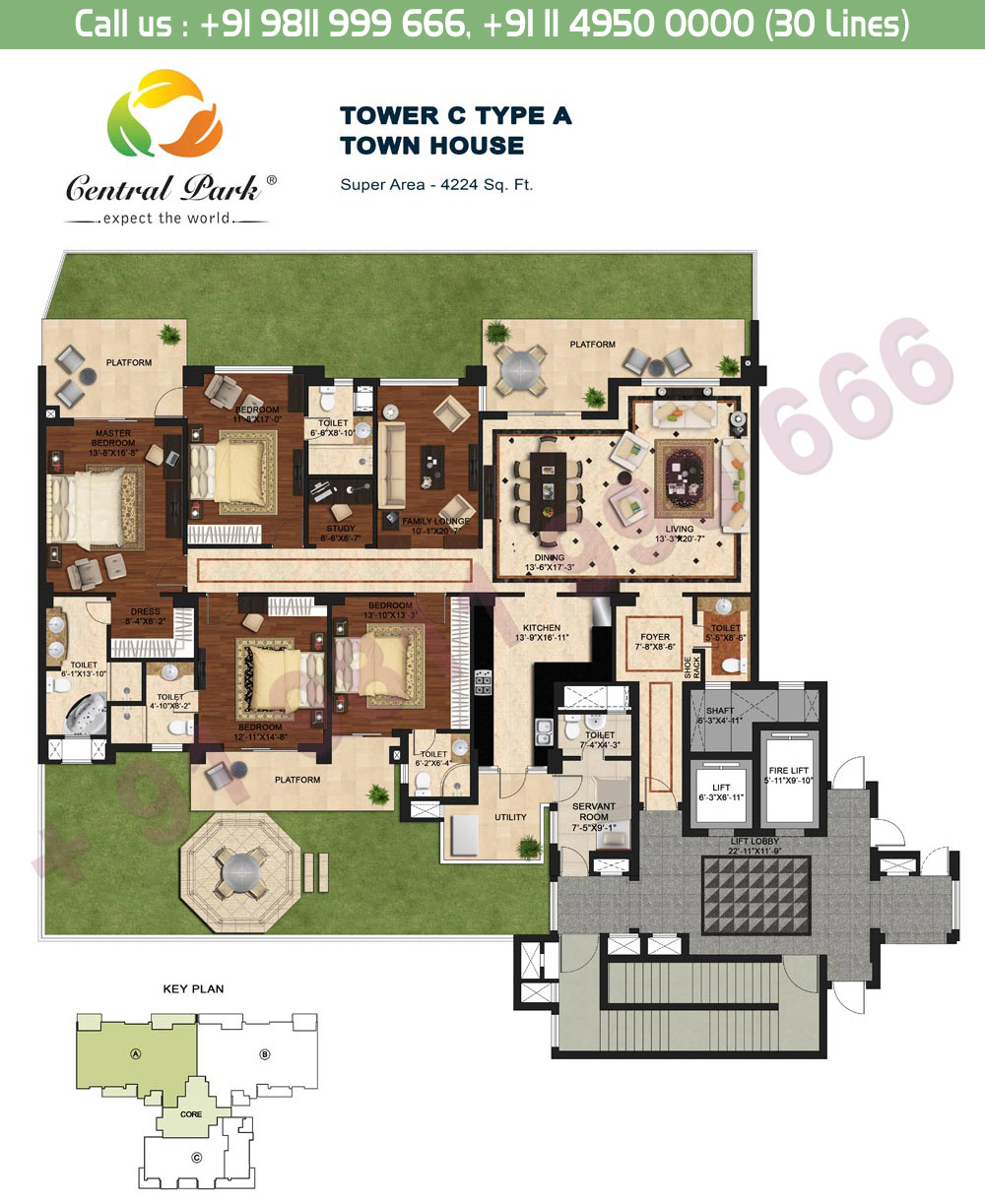 Tower - C, Type - A: 4224 Sq. Ft