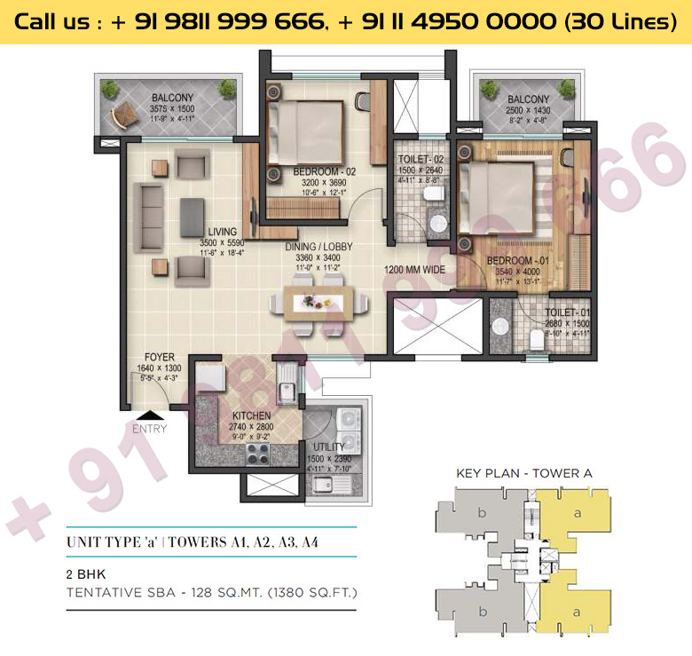 2 BHK, Type - A, Tower - A1, A2, A3, A4: 1380 Sq. Ft.