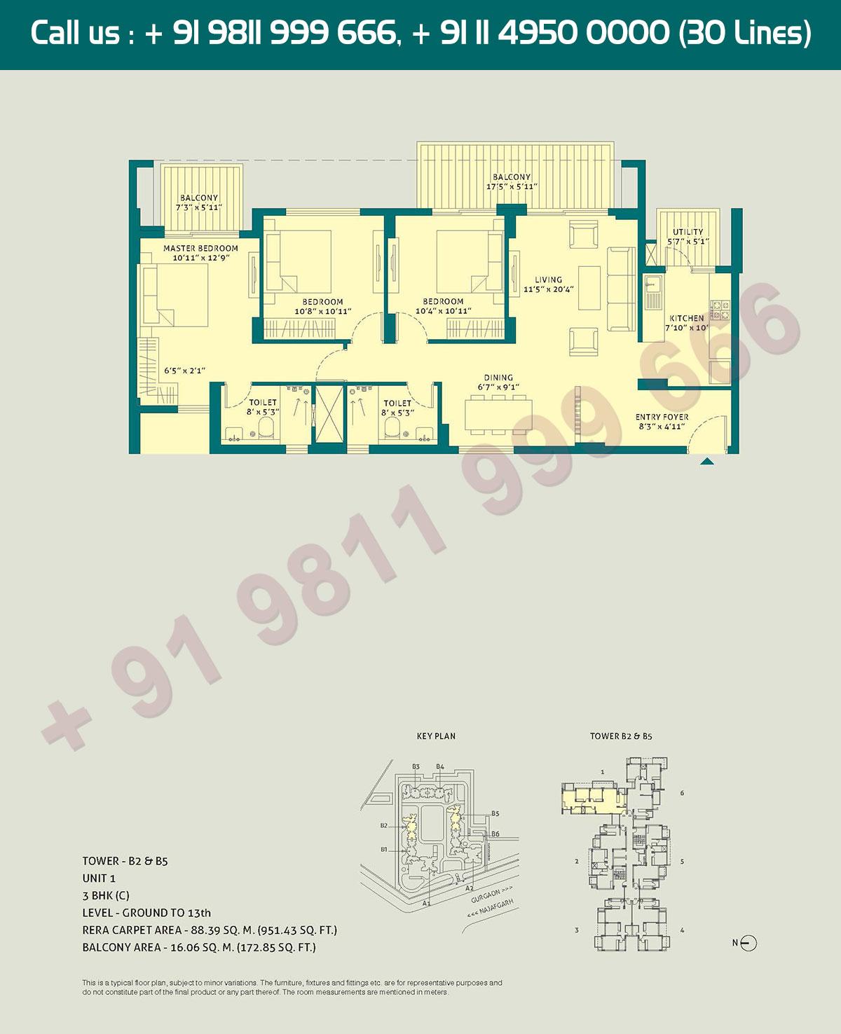 3 BHK - (C), Level Ground to 13, Unit - 1, Tower - B2 - B5