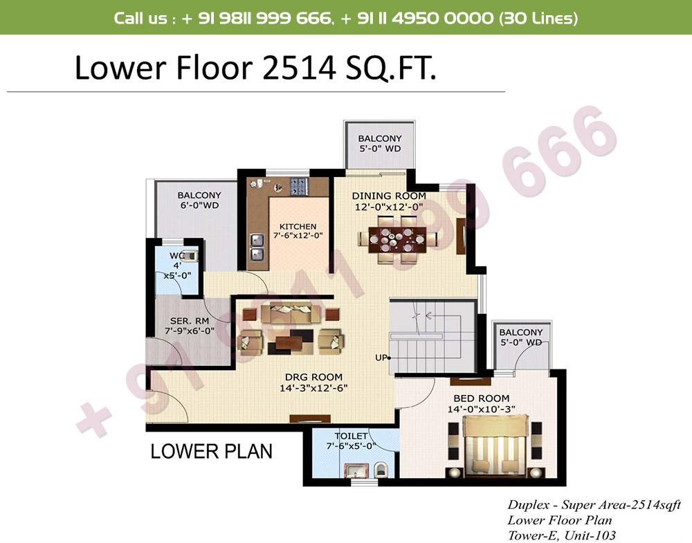 4 BHK+ S Duplex Lower Level : 2514 Sq.Ft.