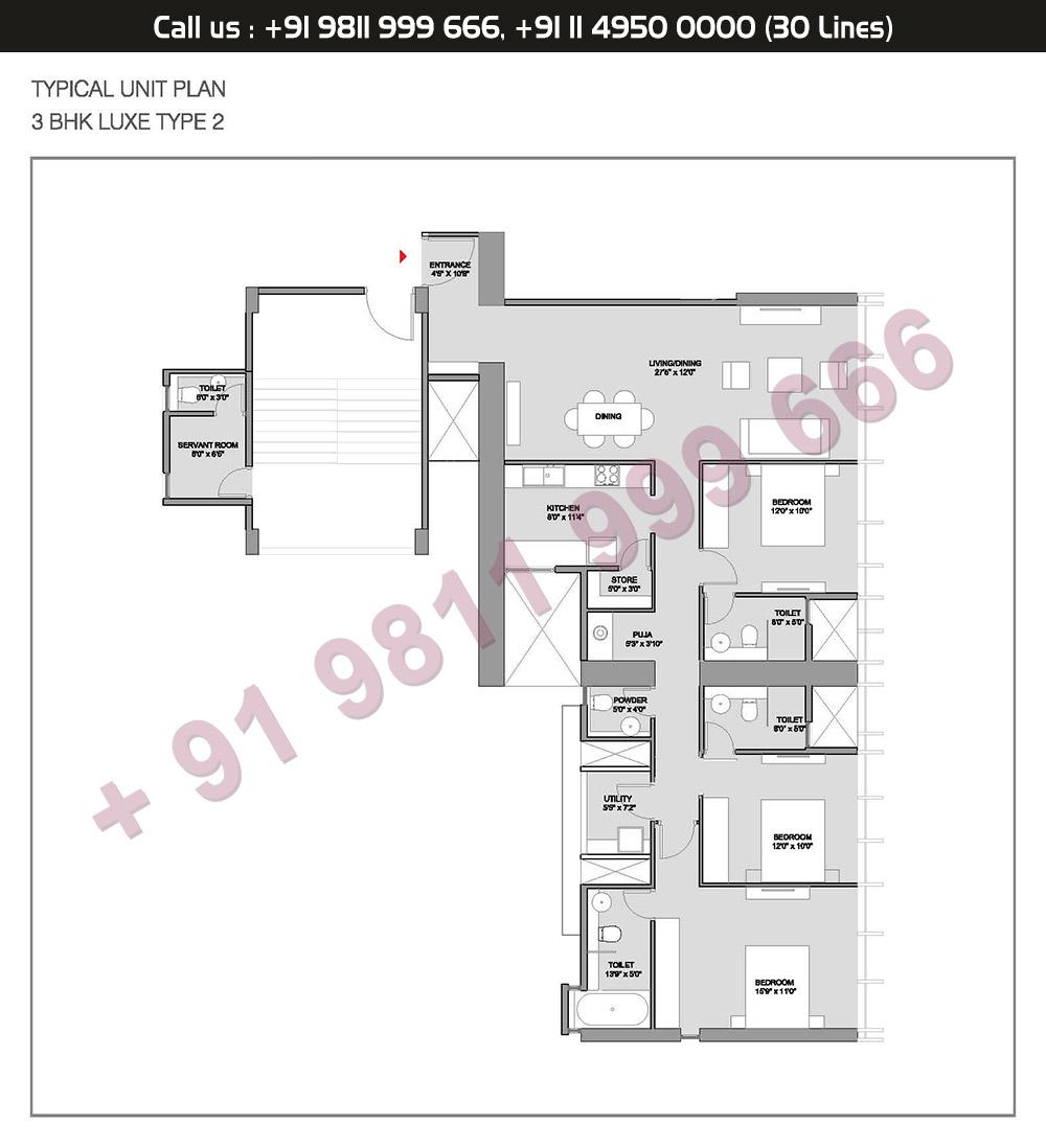 Type 2 3 BHK Floor Plan