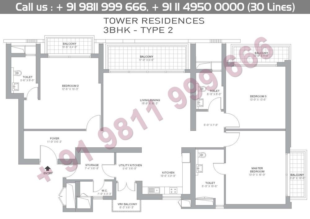 3 BHK Type 2 Floor Plan
