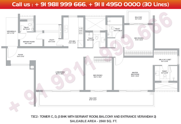 Tower C & D 3 BHK Large Type 3C2 : 2560 Sq.Ft.