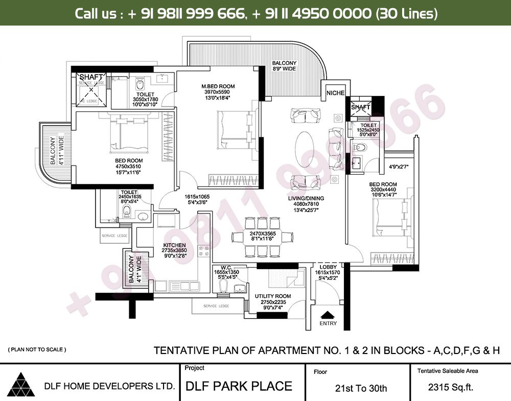 3 BHK + SR: 2315 Sq.Ft