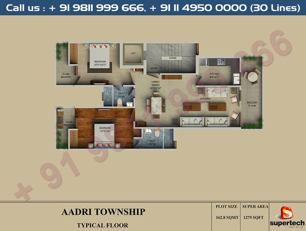 2 BHK Floor Plan : 1275 Sq.Ft.