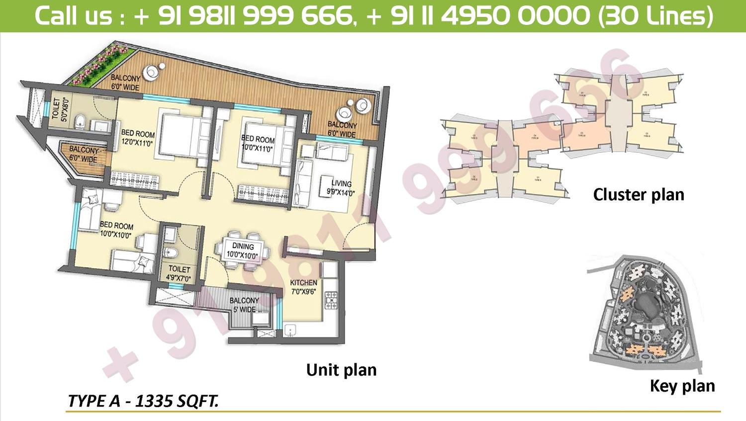 3 BHK, Type A: 1335 Sq.Ft.