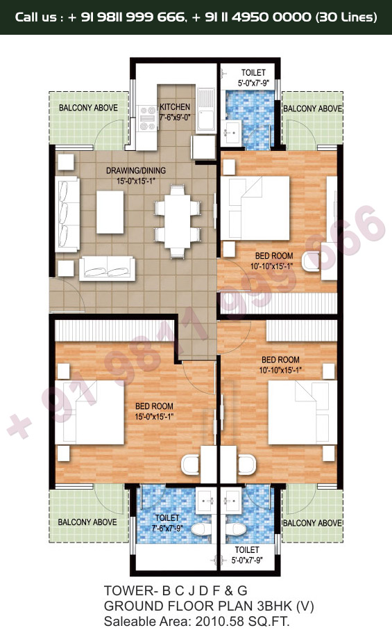 Tower B, C, J, D, F & G, Ground Floor Plan, 3 BHK Type 5: 2010 Sq.Ft.