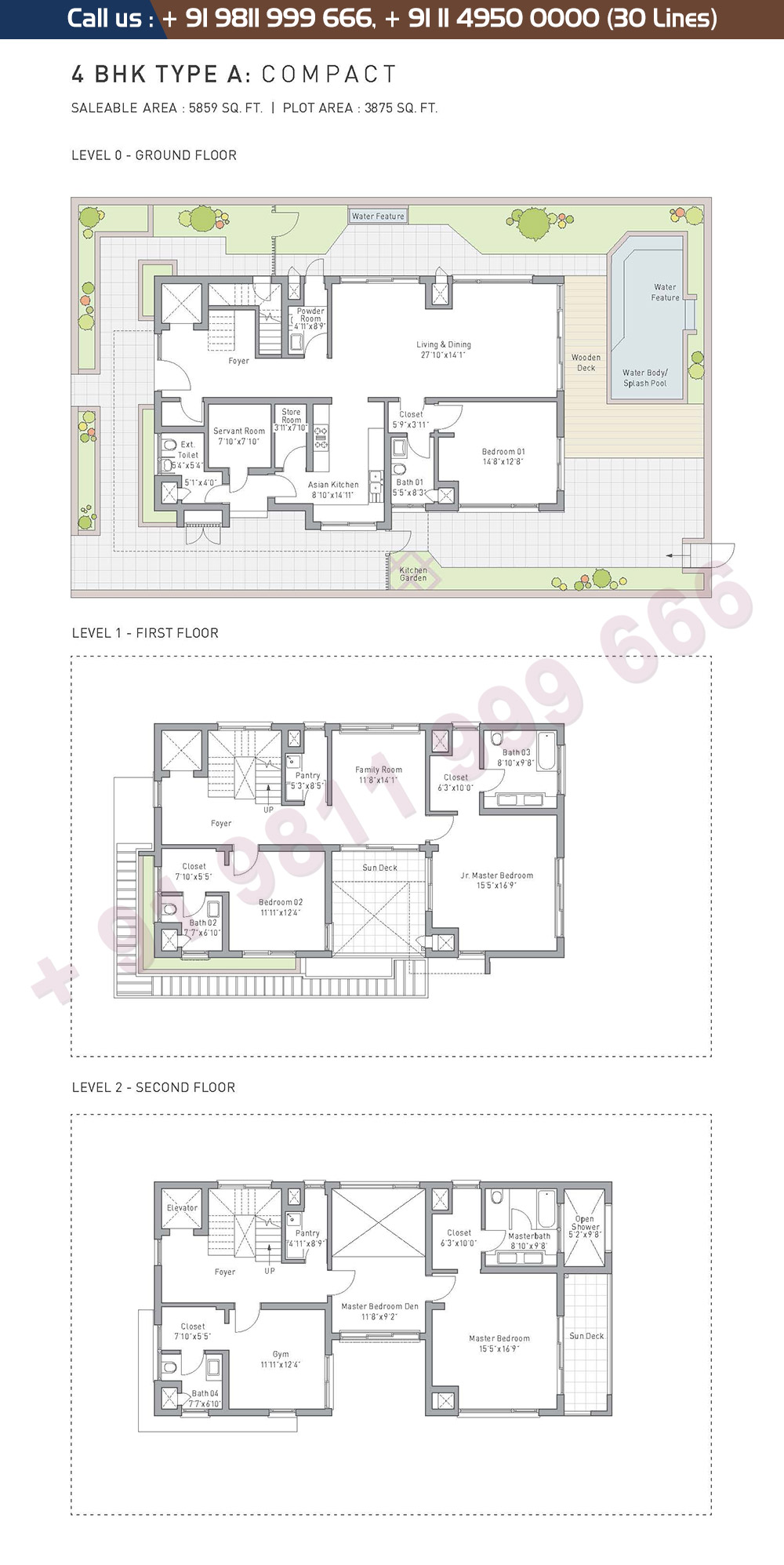 4 BHK Type A Compact: 5859 Sq.Ft.