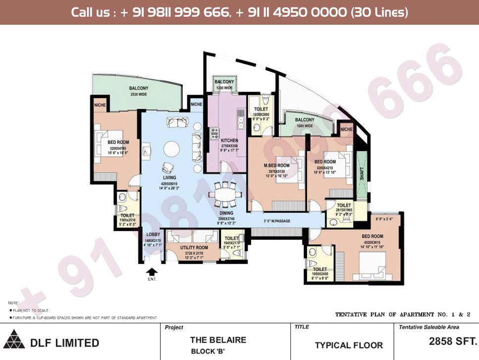 Block B Apartment No. 1 & 2 Floor Plan : 2858 Sq.Ft.