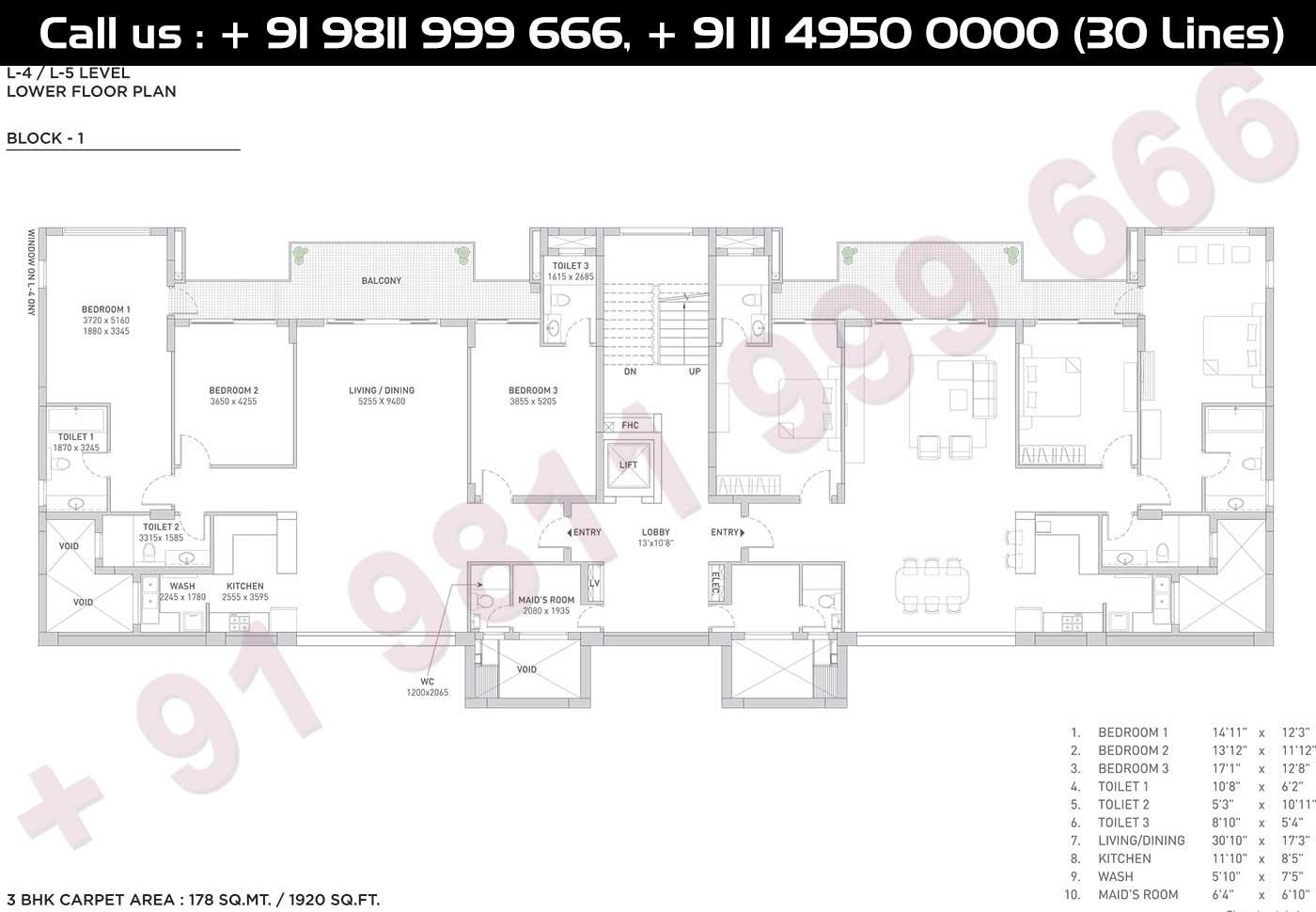 4 - 5 Level Lower Floor Plan, Block-1, Carpet Area, 178 Sqmt: 1920 Sq. Ft