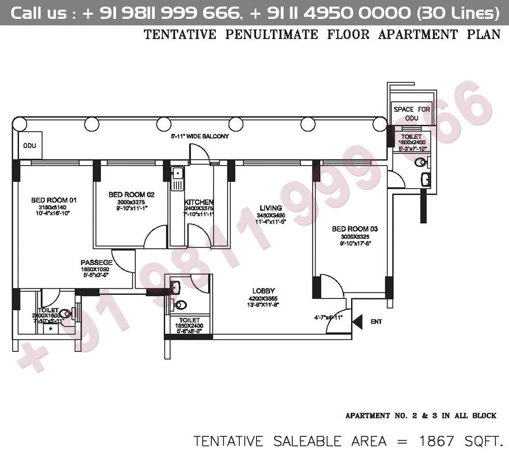 Tentative Penultimate Floor Apartment Plan : 1867 Sq.Ft.