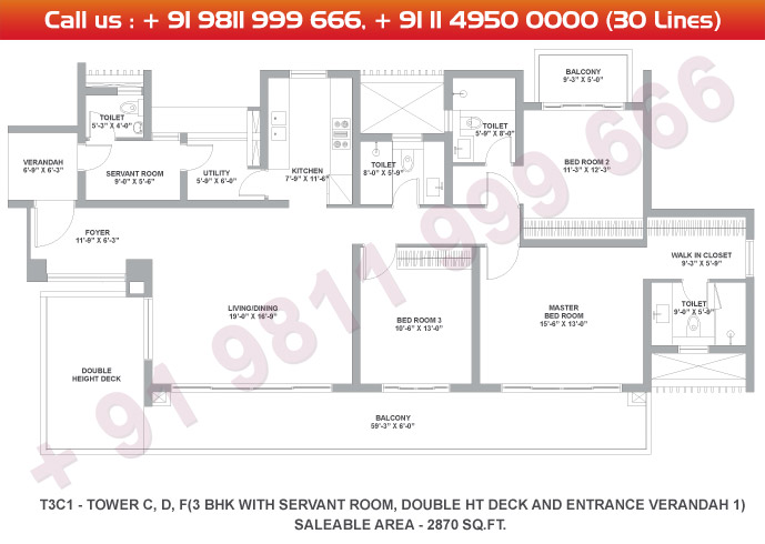 Tower C, D & F 3 BHK Large Type 3C1 : 2870 Sq.Ft.