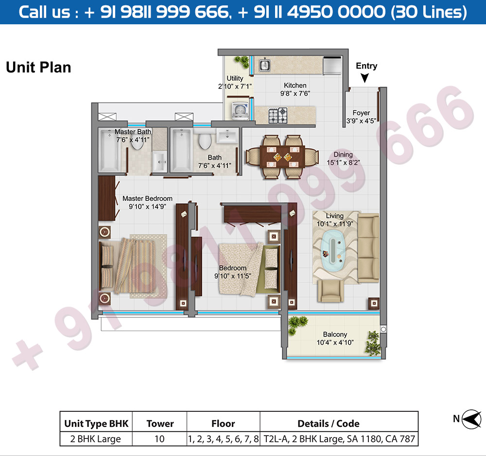 2 BHK Large Type A : 1180 Sq.Ft.