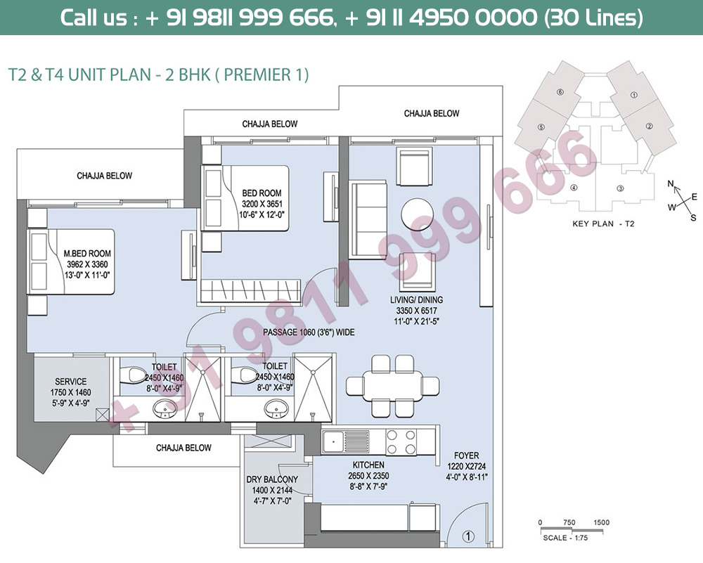 2BHK Premier 1 T2 & T4 Unit Plan