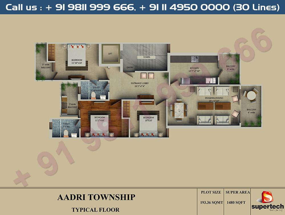 3 BHK Floor Plan : 1480 Sq.Ft.