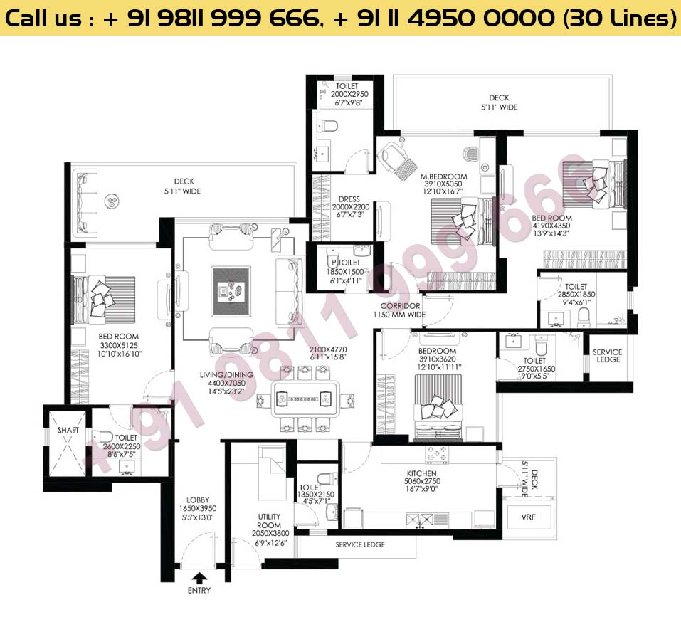 4 BHK+Utility Apt No 3 First Floor : 3088 Sq.Ft.